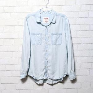 Mossimo Chambray Boyfriend Fit Button Up Shirt L